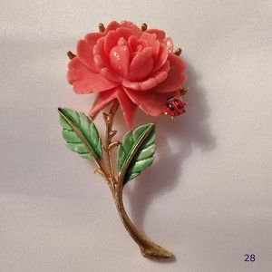 J.J. Coral Rose & Lady Bug Brooch